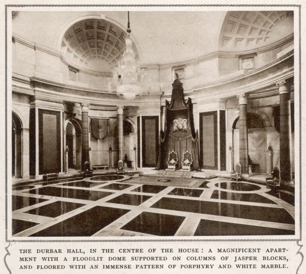 The Durbar Hall in the centre of the Viceroy of India's house in New Delhi. A magnificent apartment with the floodlit dome supported on columns of jasper blocks, and floored with an immense pattern of porphyry and white marble
