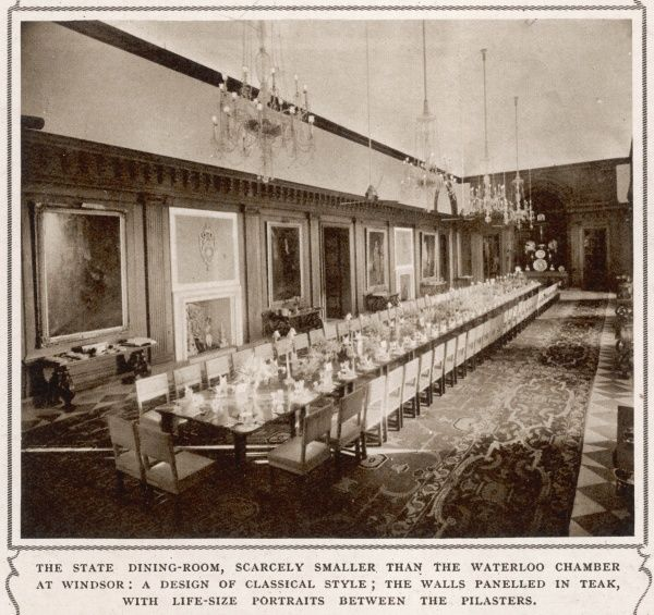 The State dining-room of the Viceroy of India's residence in New Delhi; a design in a Classical style; the walls panelled in teak with life-sized portraits between the pilasters