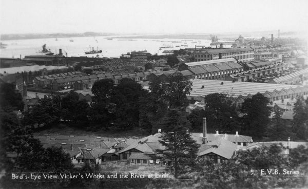 The Vickers works, beside the Thames at Erith, Kent