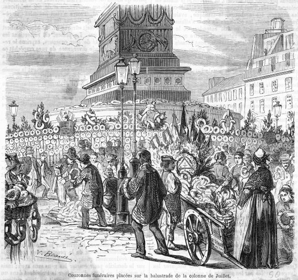Victims of the Revolution are honoured at the Colonne de Juillet. Date: circa May 1850