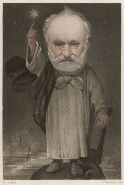 VICTOR HUGO French writer : Gill's caricature is arguably the finest ever done of the divinely-inspired (or star-struck) idealist