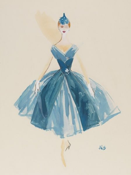 A fashion design by Victor Stiebel (1907-1976) for a blue paper taffeta cocktail dress. The diaphragm is swathed with darker shaded taffeta, which falls in two flat panels