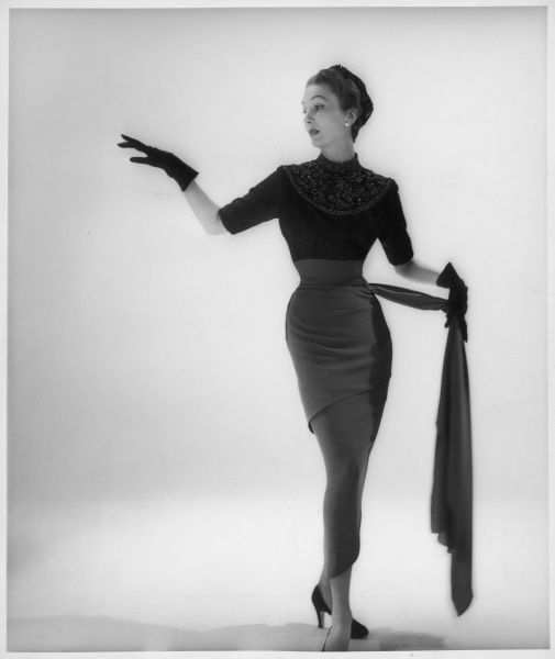 Skirt and sweater design by Victor Stiebel (1907-1976) worn by English model, Barbara Goalen