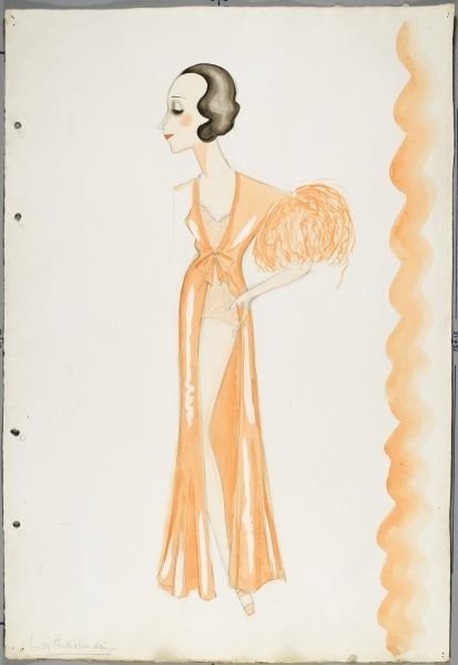 Design by Victor Stiebel for a theatrical costume worn by Miss Phyllis Konstan, comprising of an apricot, ostrich feather trimmed negligee and lace underwear