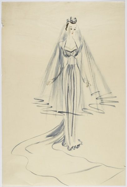 Design by Victor Stiebel (1907-1976) for a wedding dress with long train, full veil
