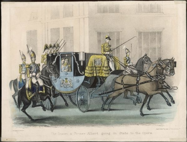Queen Victoria and Prince Albert on their way to the Opera in the State Coach