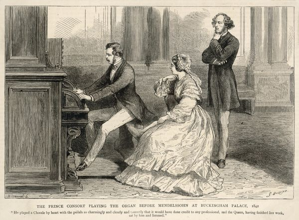 FELIX MENDELSSOHN the German composer listens appreciatively to Prince Albert playing the organ at Buckingham Palace in 1842, while Queen Victoria sits by