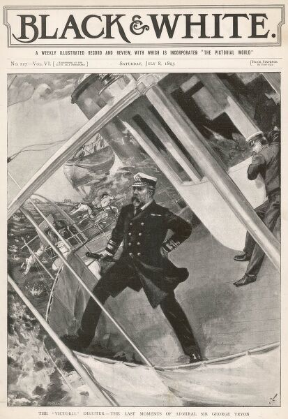 Admiral Tryon, whose error and obstinacy have caused his flagship 'Victoria' to be rammed by the 'Camperdown', goes down with his ship, thus avoiding a court-martial