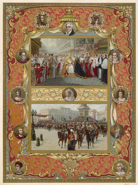 Two scenes from Queen Victoria's reign: 1. her coronation, 1837 2. Golden Jubilee procession, 1887