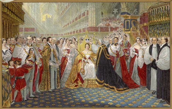 She is crowned at Westminster Abbey