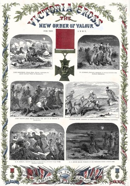 Special colour supplement from the ILN, June 1857 to commemorate the introduction of the Victoria Cross, a new order of valour first bestowed by Queen Victoria upon Crimean War veterans. The page shows a variety of acts of heroism. Clockwise from top left
