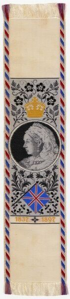 A beautifully embroidered silk bookmark to commemorate Queen Victoria's Diamond Jubilee