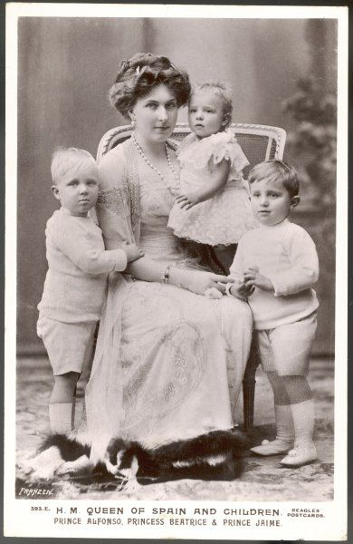 VICTORIA EUGENIA, Queen of Spain, Princess of Battenburg, wife of ALFONSO XIII, with her three children, Alfonso, Jaime and Beatrice