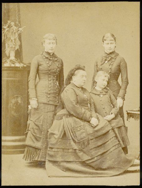 Queen Victoria with three granddaughters, left to right: Victoria of Hesse; Alix of Hesse, later Empress Alexandra of Russia; and Elizabeth, later Grand Duchess of Russia