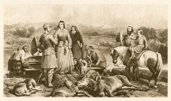 Royal Blood Sports: Queen Victoria and Prince Albert stag hunting with young Prince 'Bertie' (later Edward VII) in Scotland