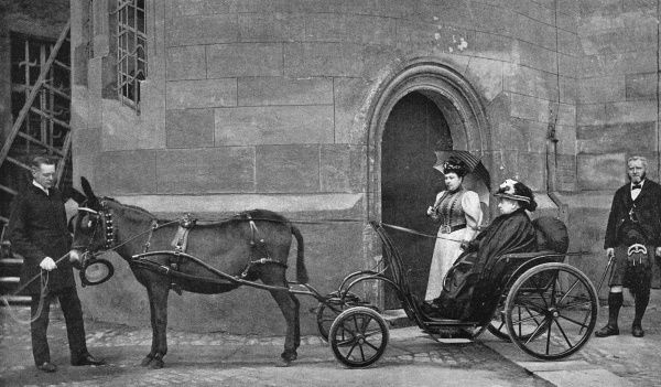 WITH JOHN BROWN The Queen leaving Windsor Castle for a drive in her donkey-carriage. (John Brown on the right) Date: 1819 - 1901