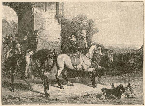 Victoria goes riding at Windsor, accompanied by Lord Melbourne who was her political advisor during the early years of her reign