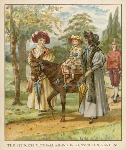 Victoria as a child, riding in Kensington Gardens