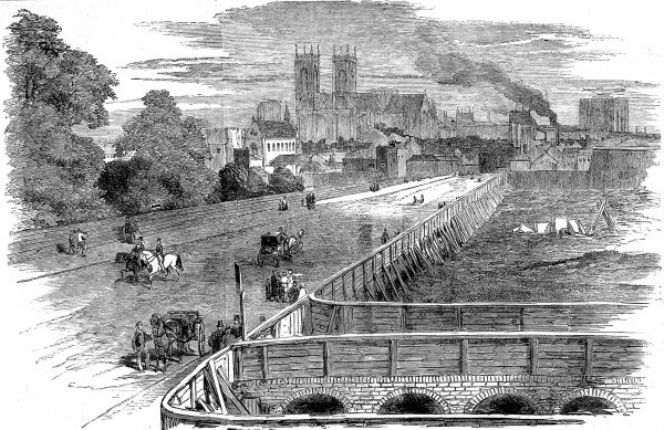 Engraving showing the weset end of Victoria Street, London, in 1851. The West Front of Westminster Abbey is clearly visible in centre of this image
