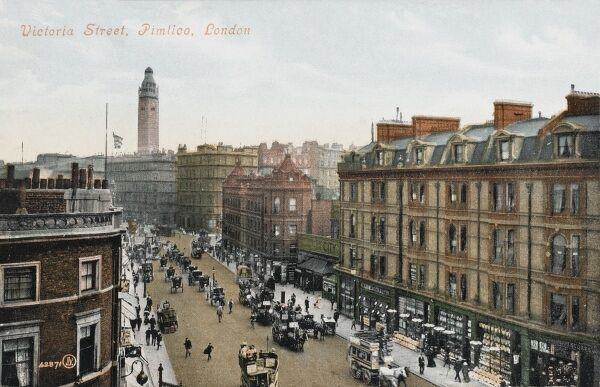 Birds Eye view of Victoria Street (from Victoria Station end), Pimlico, London