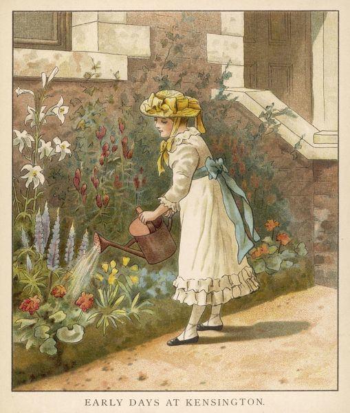 Victoria as a child, tending the garden at Kensington Palace