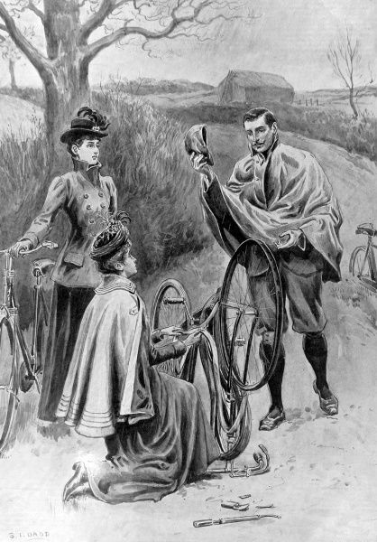 Illustration of three Victorian cyclists, gathered around a bicycle with a puncture. It would appear that the man has stopped to offer his assistance with the puncture, but from the women's expressions his attention is not entirely welcome