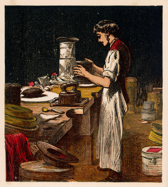 A Victorian hat-maker at work