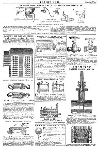 A page of patented engineering and industrial inventions from The Engineer magazine, 1856. Date: 1856