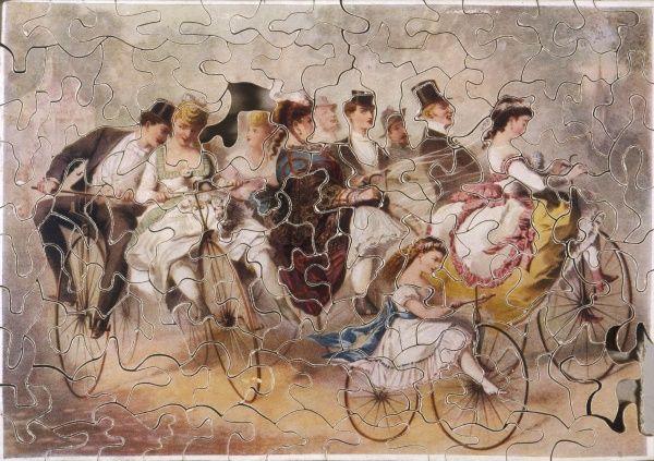 Victorian puzzle of some aristocratic cyclists (one piece missing)