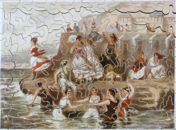 Victorian puzzle showing bathing beauties at the seaside Date: circa 1870