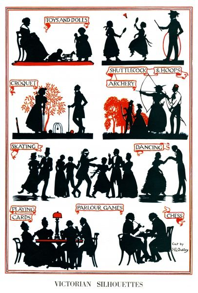 A page of silhouettes showing various Victorian pastimes and games including archery, croquet, skating and chess