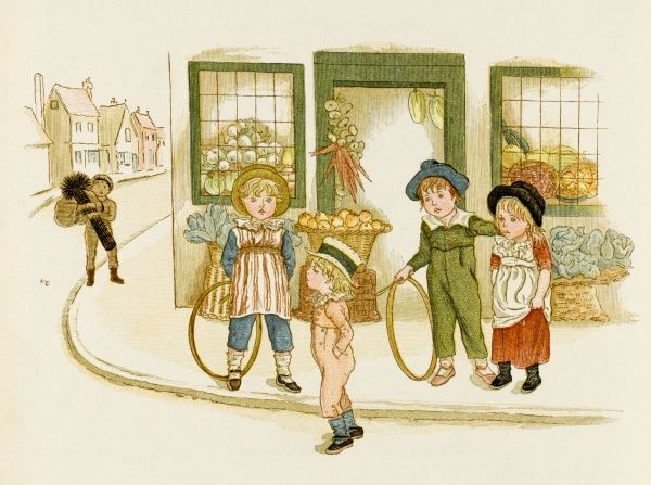 Victorian children playing with their hoops in the street as a smart boy struts by