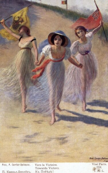 VERS LA VICTOIRE ! Three young ladies, representing France, Russia and Britain, give promise of victory for the Allies. Date: circa 1914