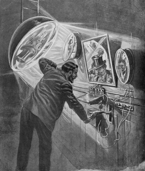 Cumbersome it may be, but this videophone enables you not only to speak with and see your correspondent, but shake hands as well ! Date: 1905