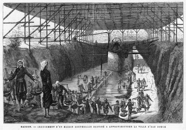 Construction of an underground cistern intended for the storage of drinking water