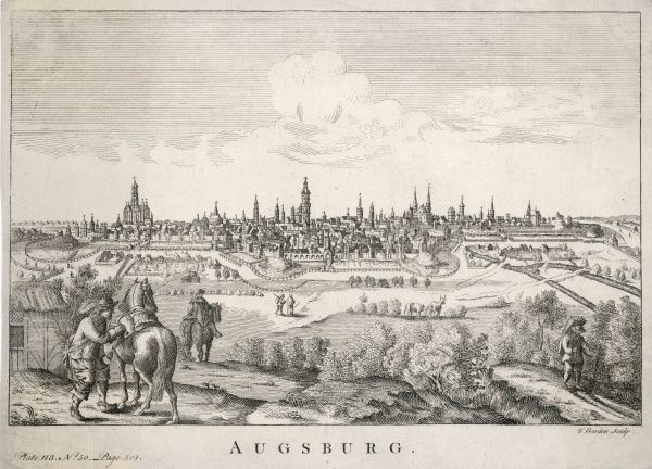 A distant view of Augsburg in Bavaria, Germany
