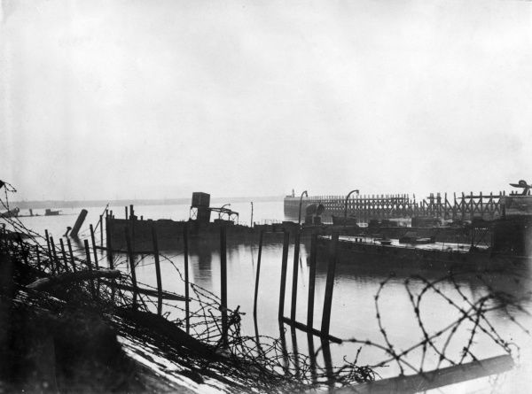 View of the Bruges Canal at the sea port of Zeebrugge, Belgium, taken after the end of the First World War