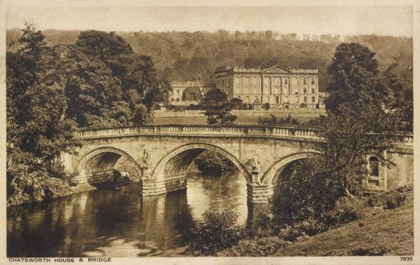 Chatsworth House, Derbyshire, viewed from across the bridge