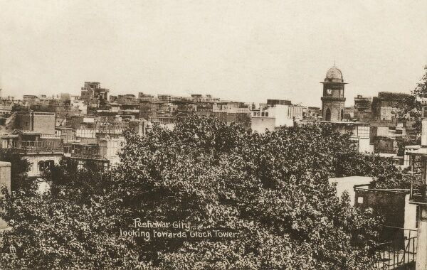View toward the Cunningham Clock Tower, Peshawar, Pakistan