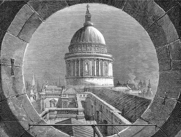 Engraving showing the view from the belfry of St. Paul's Cathedral, looking towards the dome of the same church, London, 1878