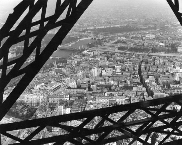 A view of the Paris buildings and the river Seine from the Eiffel Tower