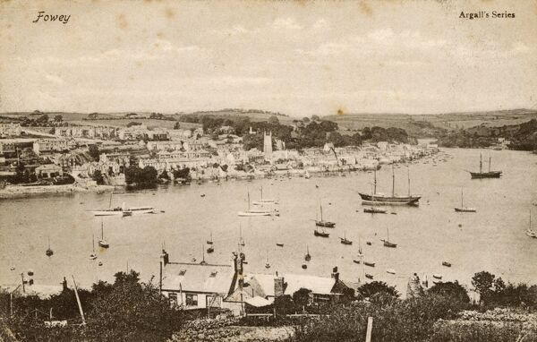 View of Fowey, Cornwall, at the mouth of the River Fowey. Date: 1906