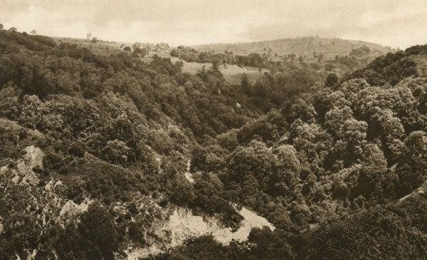 View of the Via Gellia, a wooded valley and road (now the A5012) in the Peak District near Cromford, Derbyshire. It is probably named after the builder of the road, Phillip Eyre Gell (1723-1795). Date: circa 1930