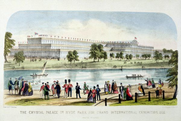 The Great Exhibition of All Nations in Hyde Park, London - general view of the Crystal Palace from across the Serpentine