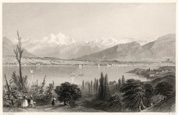 General view of Lake Geneva (known locally as Lake Leman), from opposite the Villa Diodati at Coligny, France, where Lord Byron and others stayed in the summer of 1816