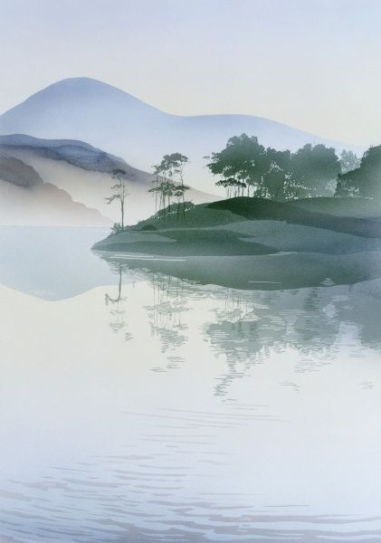 A view across the gently rippling blue green waters of a lake toward a tree-capped Island and distant pale blue mountains. Airbrush painting by Malcolm Greensmith