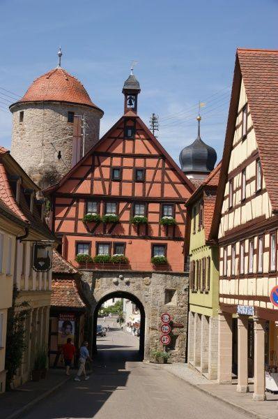 View of the town of Langenburg in the state of Baden Wurttemberg, Germany, showing the timber-framed town gate and town hall