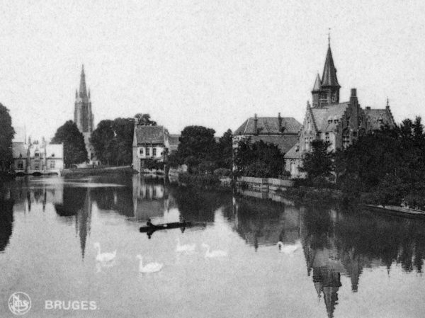 View of Le Lac d'Amour (Lake of Love, Minnewater), a medieval harbour in Bruges (Brugge), Belgium. Date: circa 1920