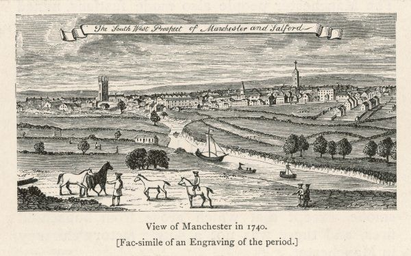 The South-West prospect of Manchester and Salford from 1740