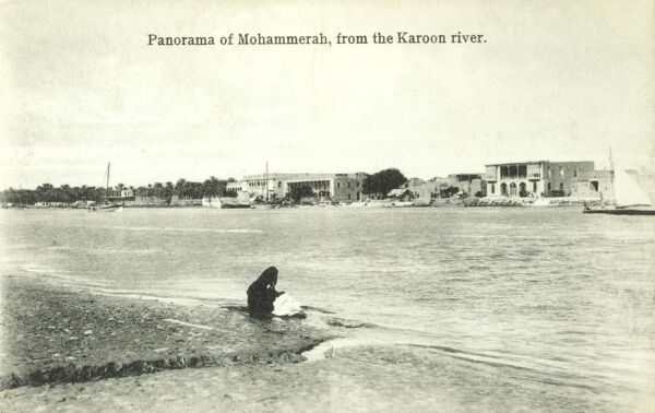 View of Khorramshahr in Khuzestan Province in southwestern Iran from the Karun River. Date: circa 1910s